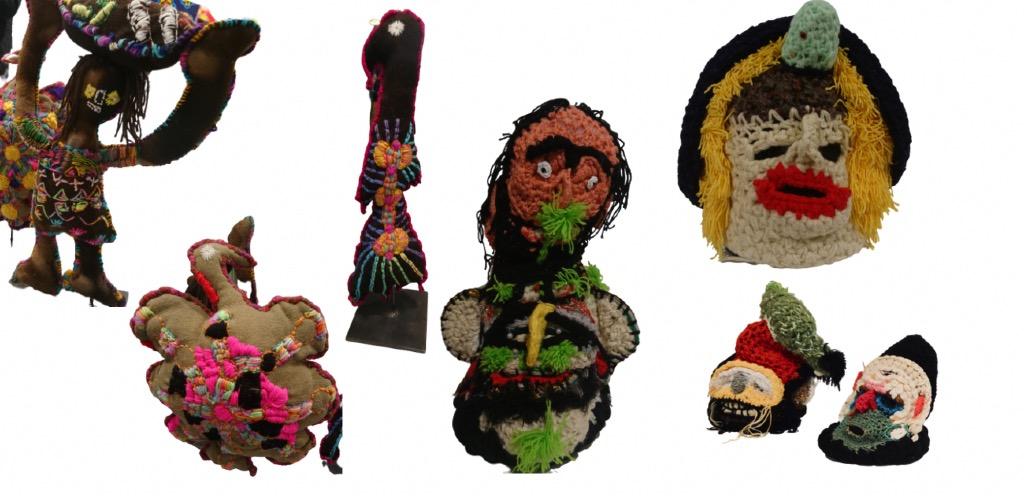 Poupées brodés et masques au crochet