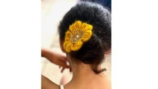 Pince cheveux fleur mohair