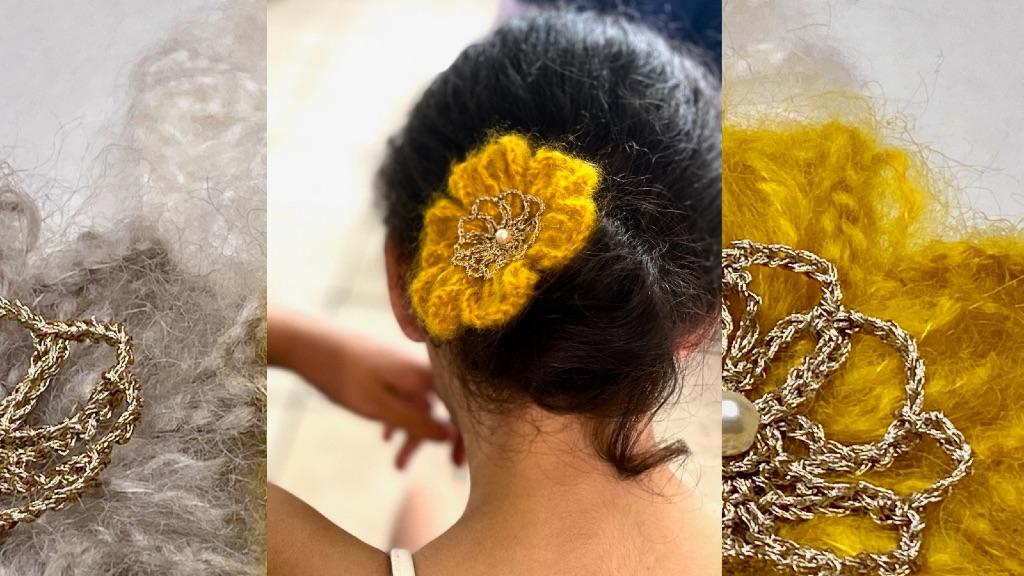 Pince cheveux fleur au crochet