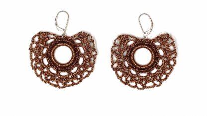 Boucles d'oreilles éventail cuivre dentelle au crochet