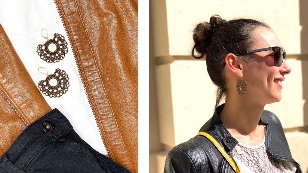 Boucles d'oreilles forme éventail bronze dentelle au crochet