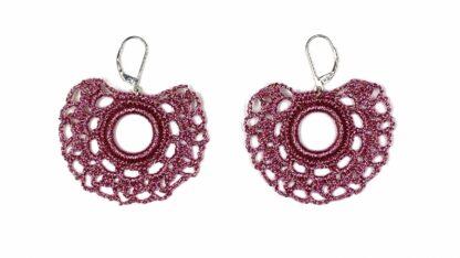 Boucles d'oreilles éventail rose dentelle au crochet