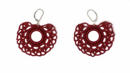 Boucles d'oreilles éventail rouge dentelle au crochet
