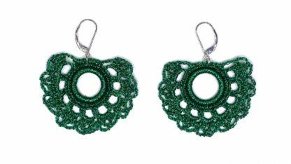 Boucles d'oreilles éventail vert dentelle au crochet