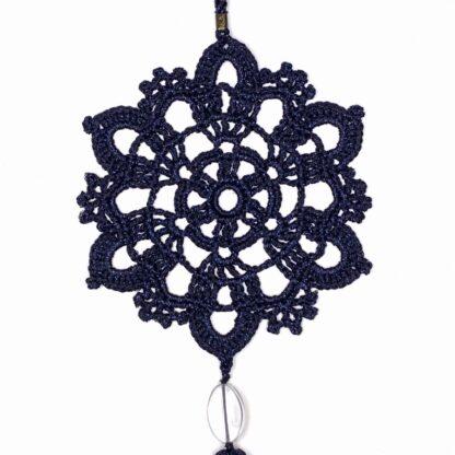 Déco à suspendre bleu rond dentelle au crochet