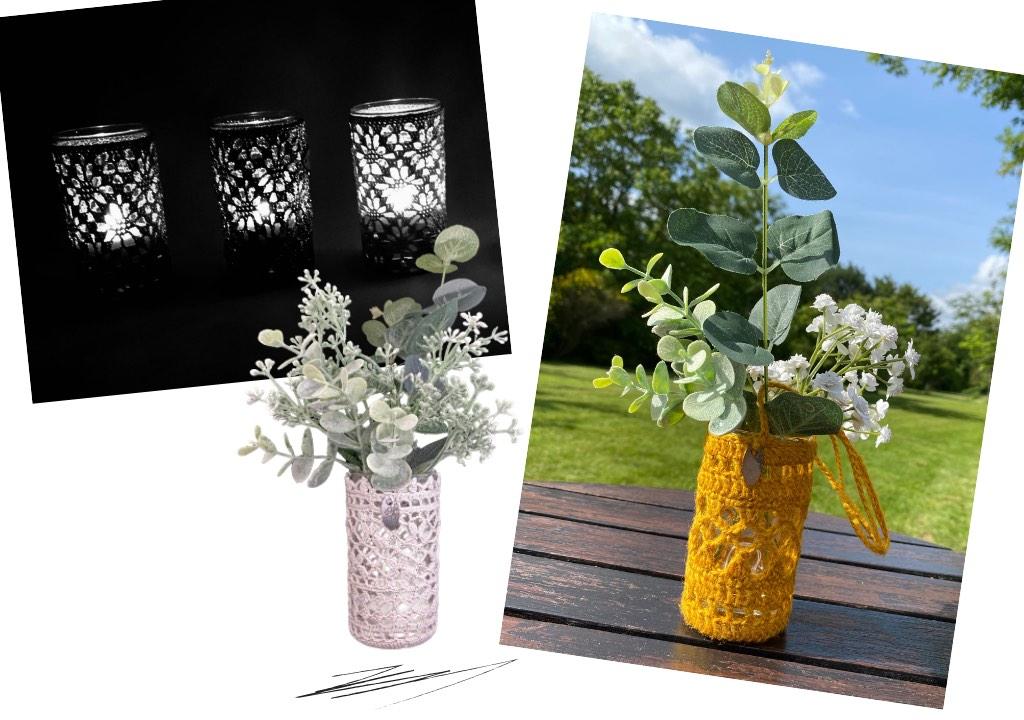 Photophores et vases ajourés en dentelle au crochet