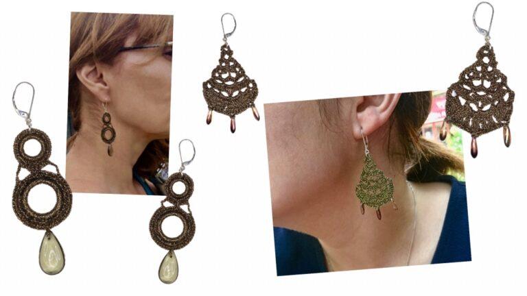 Boucles d'oreilles pendantes bronze