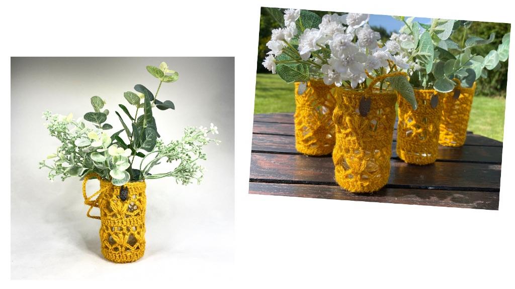 Vases jaune à suspendre