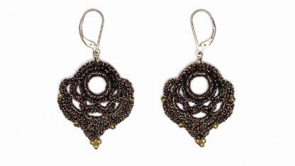 Boucles d'oreilles coeur bronze en dentelle au crochet