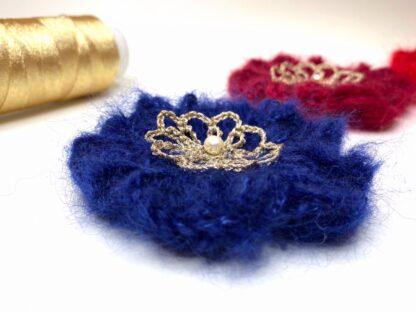 Pince cheveux fleur bleu