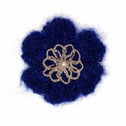Pince cheveux fleur mohair bleu