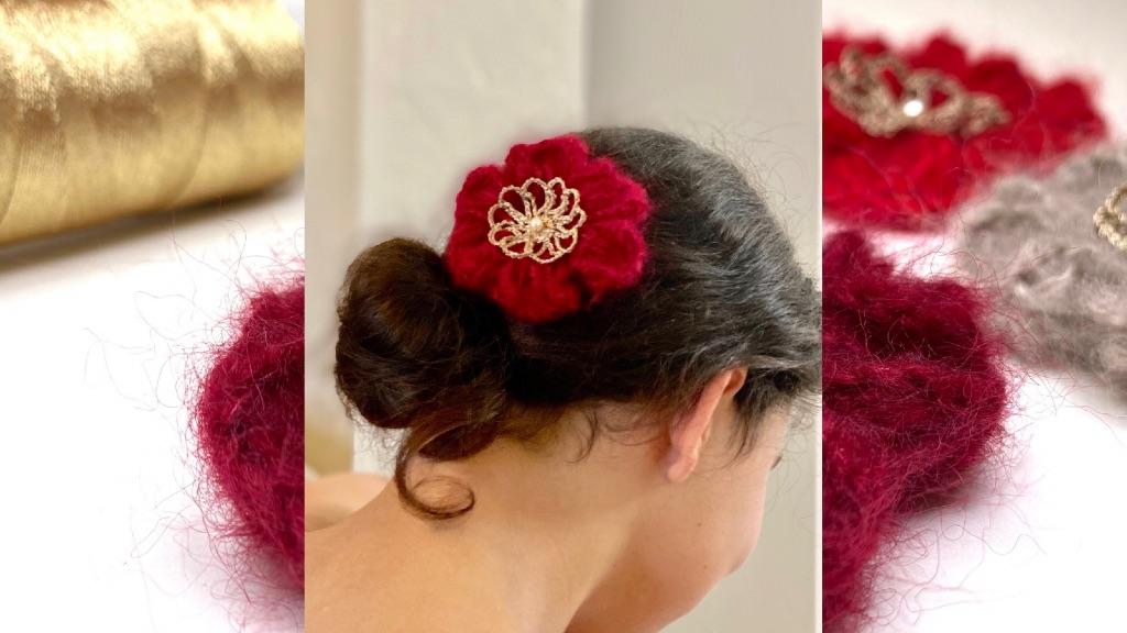 Pince cheveux fleur rouge au crochet