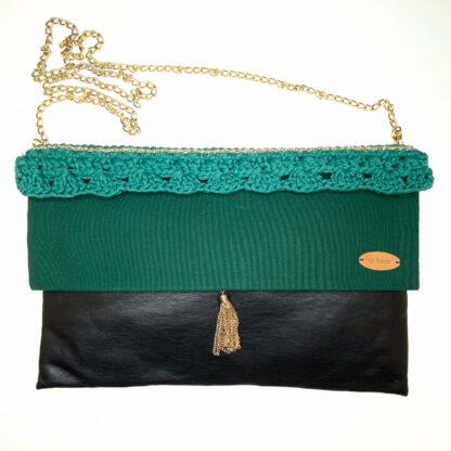 Petit sac au crochet vert et noir
