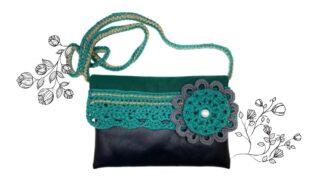 Petit sac pour téléphone portable vert et noir