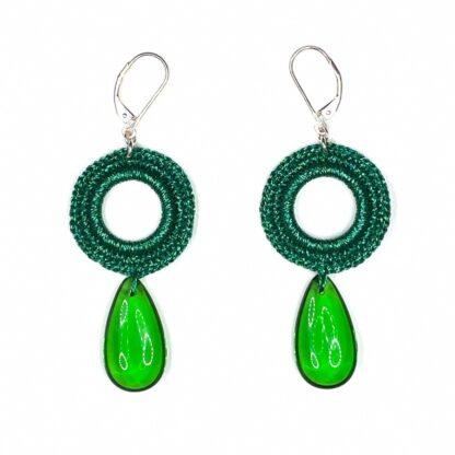 Boucles d'oreilles rondes vert