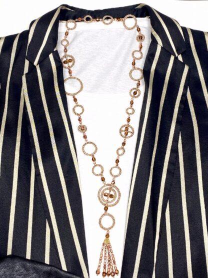 Collier sautoir au crochet or cuivré