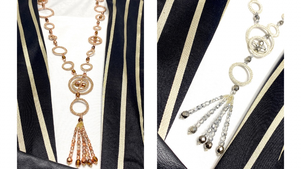 Sautoir au crochet et perles de verre